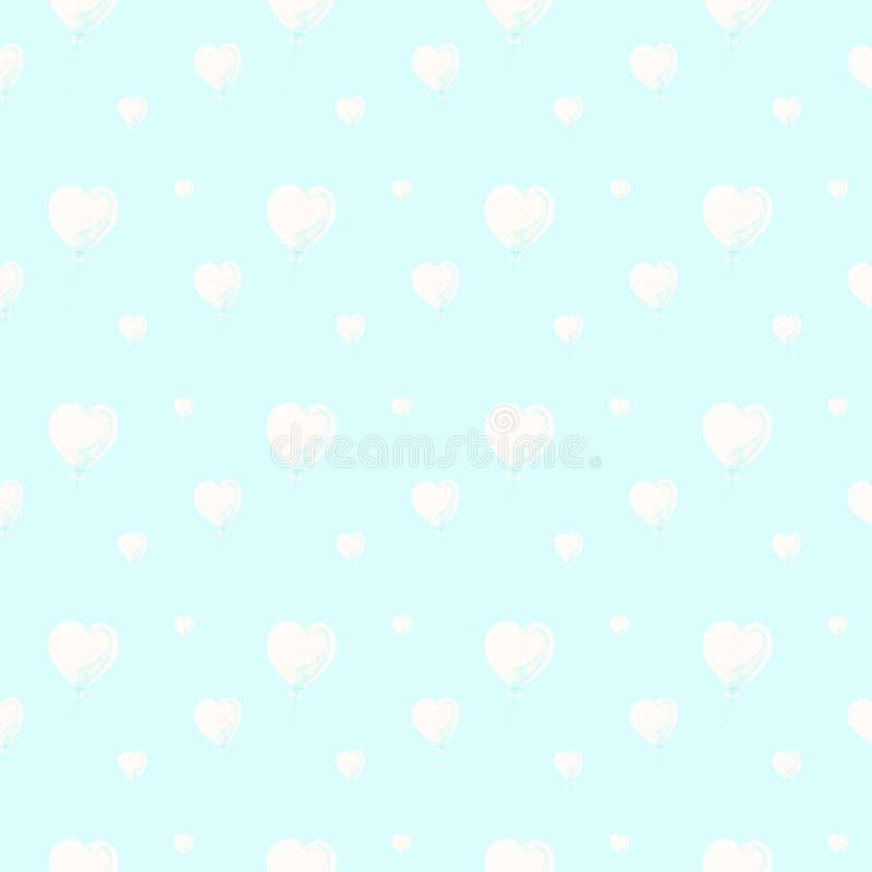 Beaux ballons à air sous la forme de coeurs, modèle sans couture d'aquarelle sur le fond bleu-clair Peut être employé pour la sal illustration stock