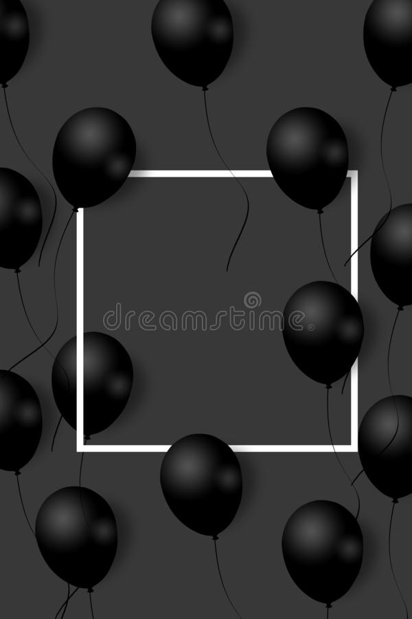 Beaux ballons noirs volant aléatoirement au-dessus du cadre blanc Fond élégant de partie avec l'espace pour le texte cadre blanc illustration stock