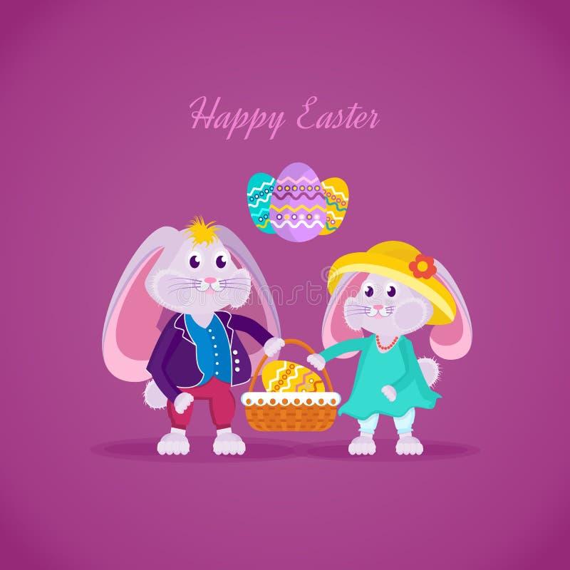 Beaux beaux lapins tenant un panier avec un oeuf de pâques illustration stock