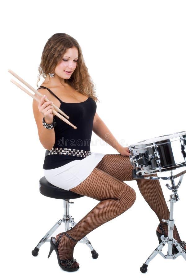 Beaux brunette et tambour de piège photos stock