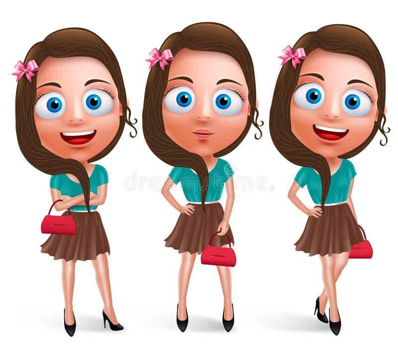Beaux caractères de l'adolescence de vecteur de fille pour la mode tenant le sac à main illustration de vecteur
