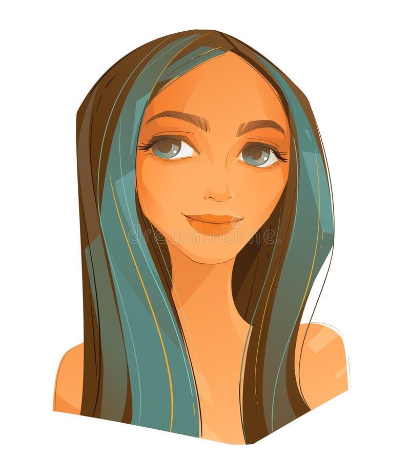 Beaux cheveux et maquillage de jeune femme illustration stock