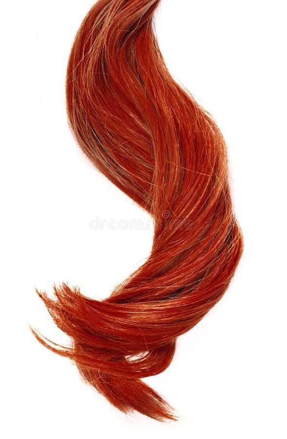 Beaux cheveux rouges, d'isolement sur le fond blanc images libres de droits