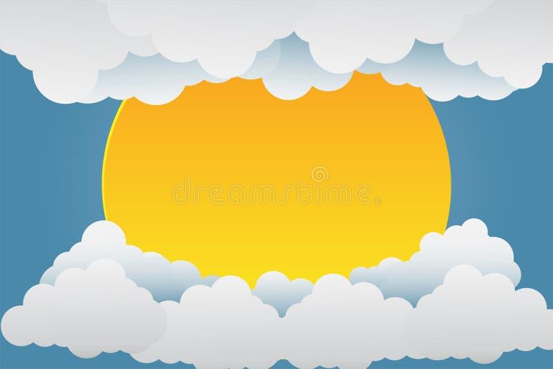 Beaux couchers du soleil au-dessus des nuages Art de papier Illustration de vecteur illustration stock