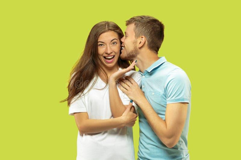 Beaux couples d'isolement sur le fond vert de studio images stock