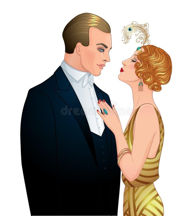 Beaux couples dans le style d'art déco Rétro mode : homme a de charme illustration libre de droits
