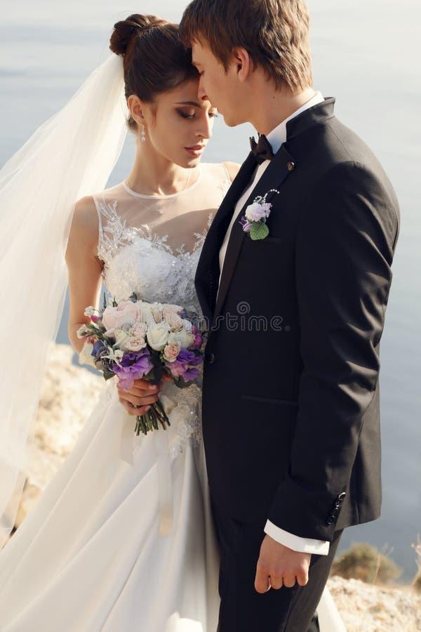 Beaux couples jeune mariée magnifique dans la robe de mariage posant avec le marié élégant sur le coût de mer photos libres de droits