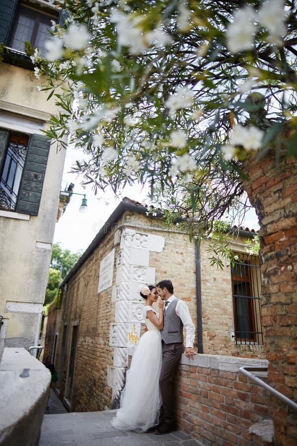 Beaux couples nuptiales au coucher du soleil sur les rues de Venise photographie stock libre de droits