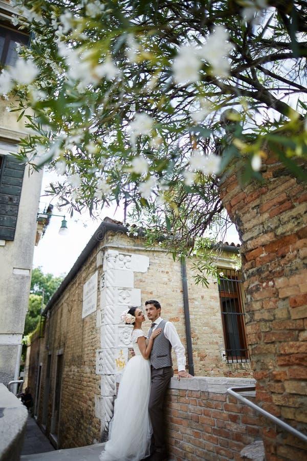 Beaux couples nuptiales au coucher du soleil sur les rues de Venise photographie stock