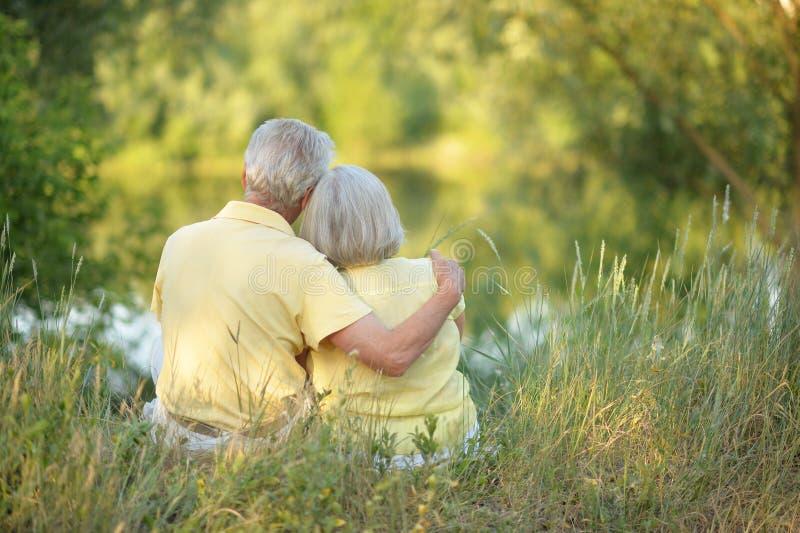 Beaux couples supérieurs étreignant en parc, vue arrière photo libre de droits