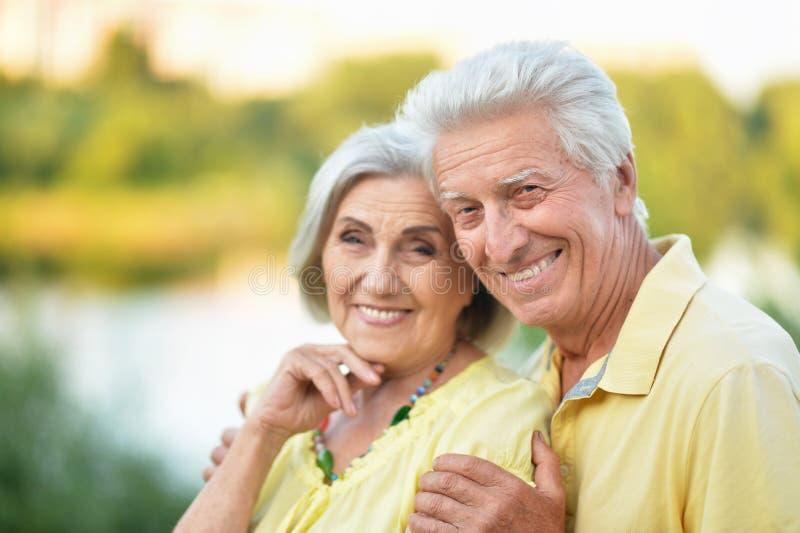 Beaux couples sup?rieurs ?treignant en parc images stock