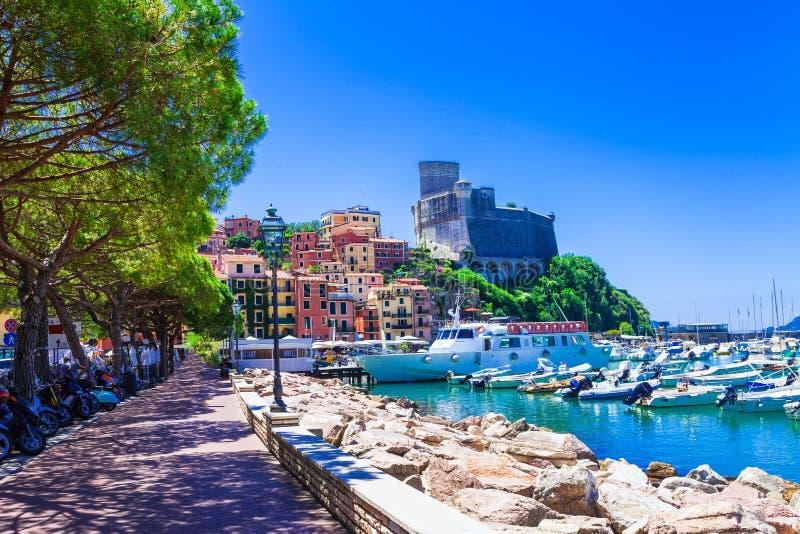Beaux endroits de l'Italie - le Lerici en Ligurie images libres de droits