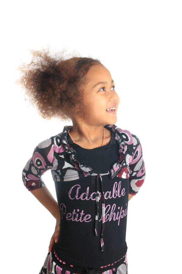 Beaux enfants afro-américains de fille avec c noir images libres de droits