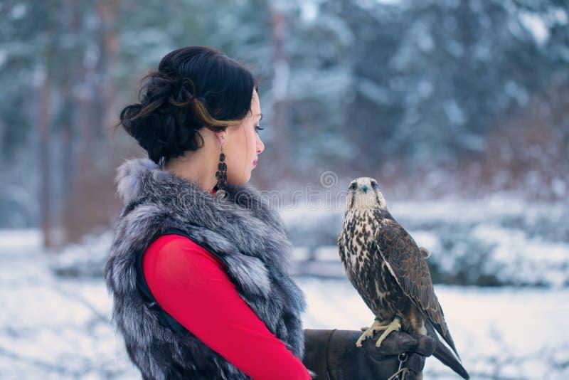 Beaux femme et faucon images stock