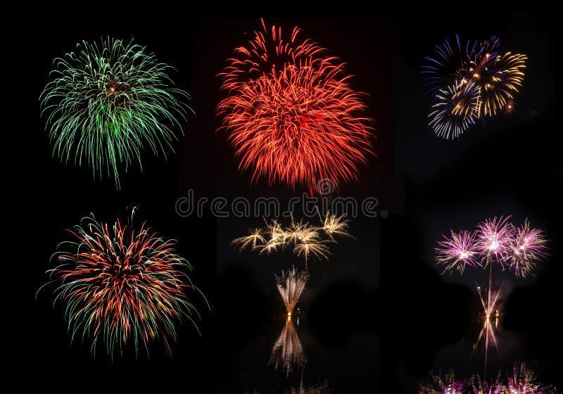 Beaux feux d'artifice colorés de vacances sur le fond noir de ciel photo stock