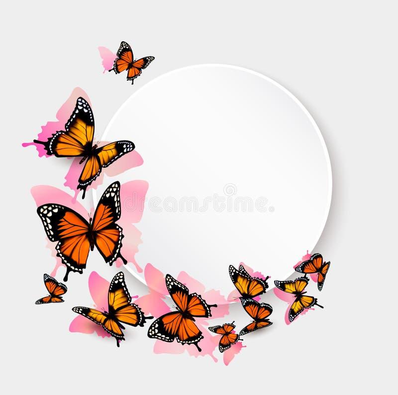 Beaux fond et carte cadeaux de papillon illustration de vecteur