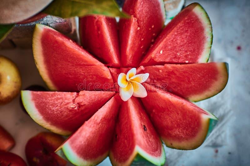 Beaux fruits coupés en tranches disposés avec le fond brouillé photos libres de droits