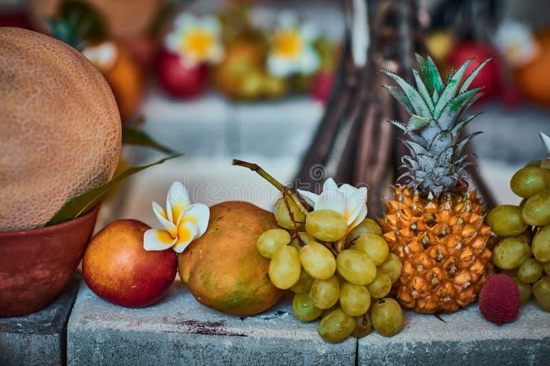 Beaux fruits disposés avec le fond brouillé image libre de droits