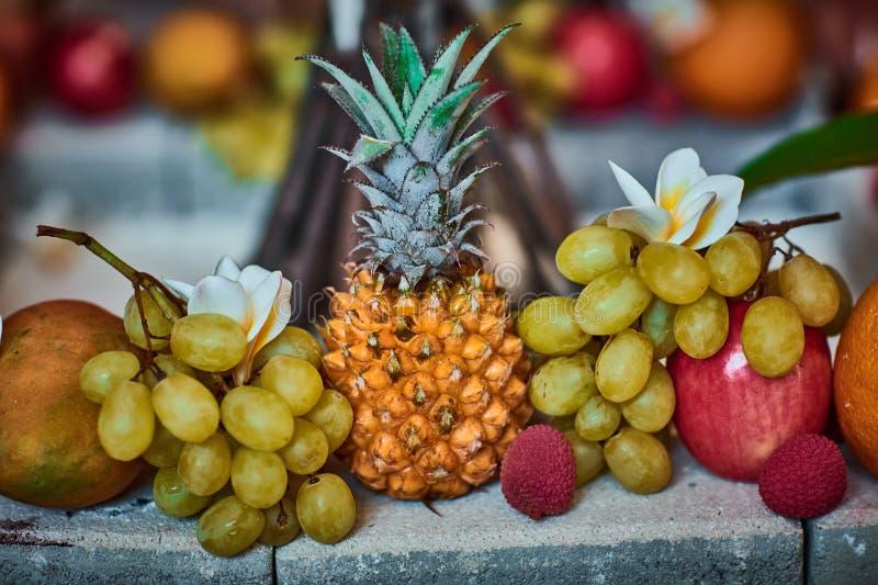 Beaux fruits disposés avec le fond brouillé photos stock