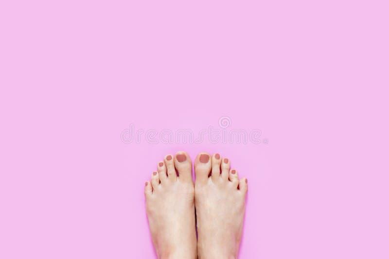 Beaux jambes et pieds de jeune femme sur la couleur rose, l'espace de copie Manucure de beauté et pieds nus de pédicurie Clous et photographie stock libre de droits