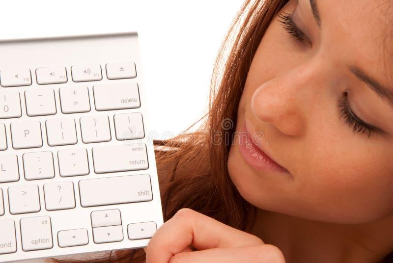 Beaux jeune femme et clavier images stock