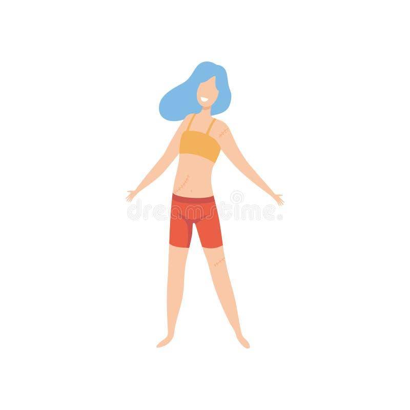 Beaux jeune femme, positif de corps, acceptation d'individu et illustration minces heureux de vecteur de concept de diversité de  illustration stock