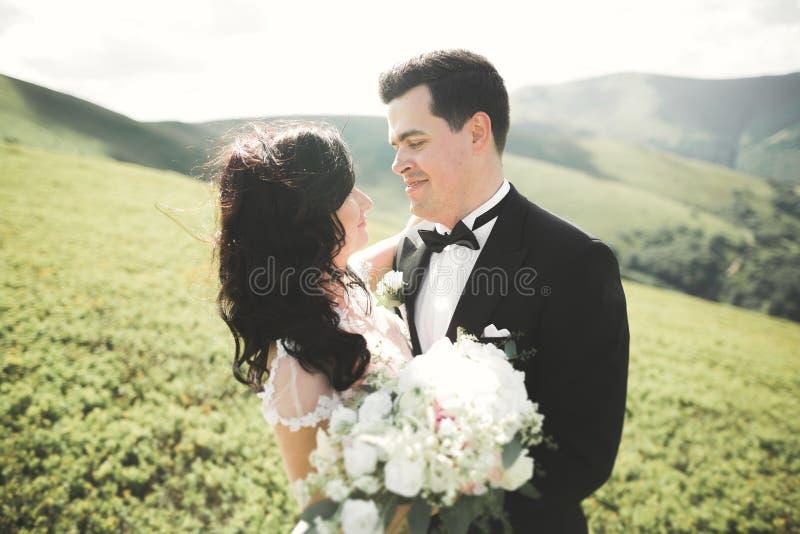 Beaux jeunes couples leur jour du mariage plan rapproché de portrait image stock