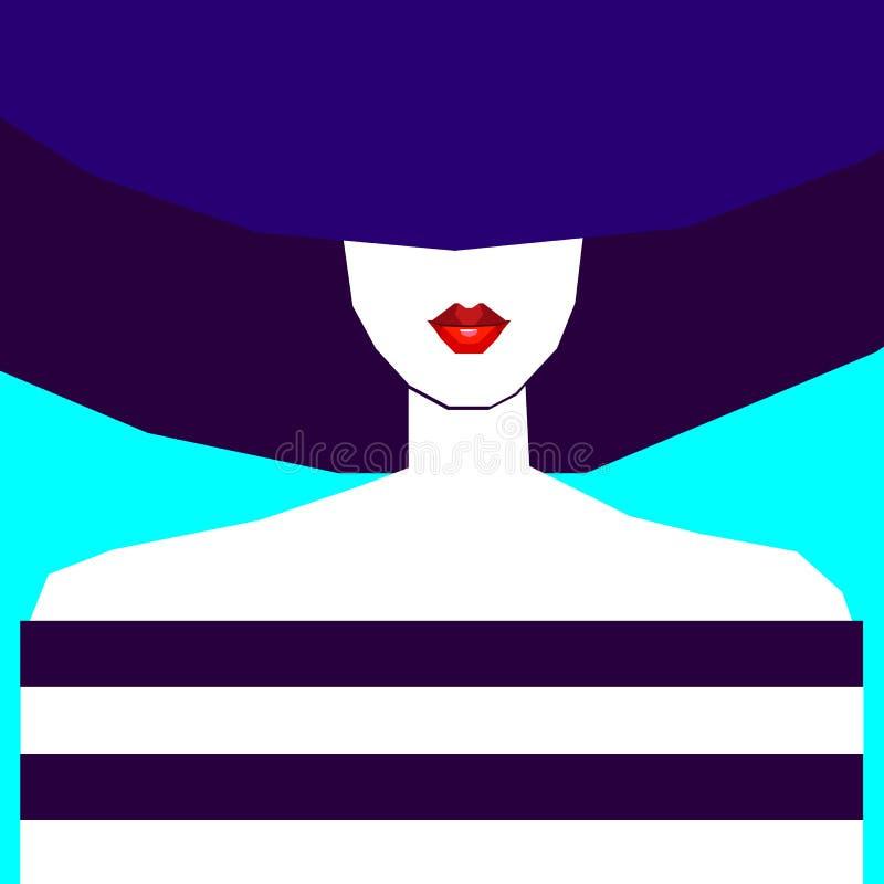 Beaux jeunes de portrait de fille de vecteur de cheveux de beauté images libres de droits