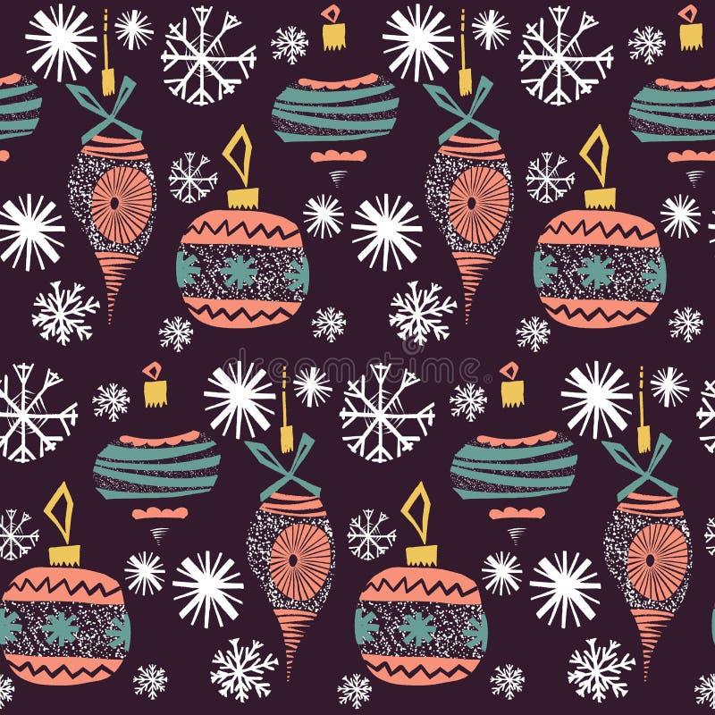 Beaux jouets d'arbre de Noël de modèle de collage de nouvelle année de vacances d'hiver de rétro de cru graphique scandinave arti illustration stock