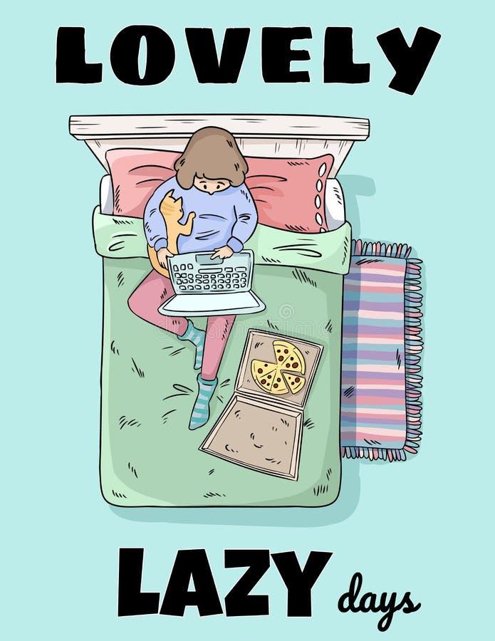 Beaux jours paresseux Fille d?tendant sur le lit Ind?pendant avec l'ordinateur portable, la pizza et le chat Image comique de sty illustration libre de droits