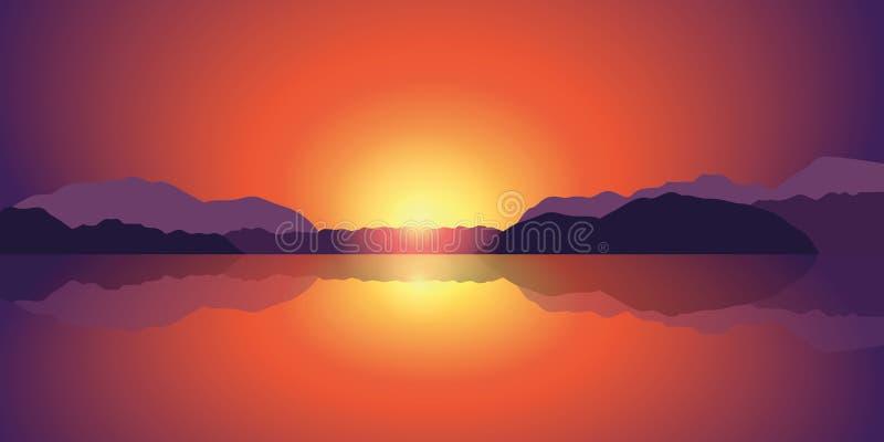 Beaux lac de coucher du soleil et fond de paysage de montagne illustration stock