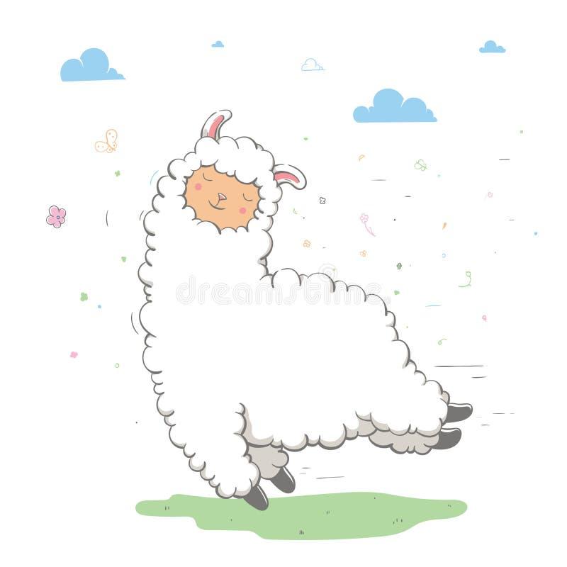 Beaux lama/guanaco sautants mignons sur un pré vert avec des nuages Carte de source illustration stock