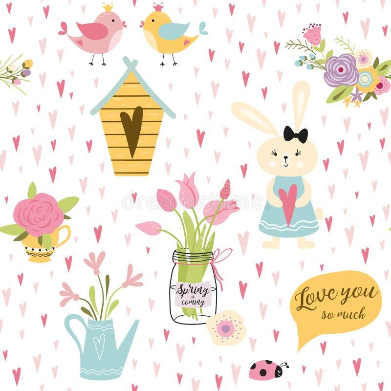 Beaux lapins en coeurs et fleurs Modèle sans couture puéril mignon dans le vecteur de style de bande dessinée illustration libre de droits