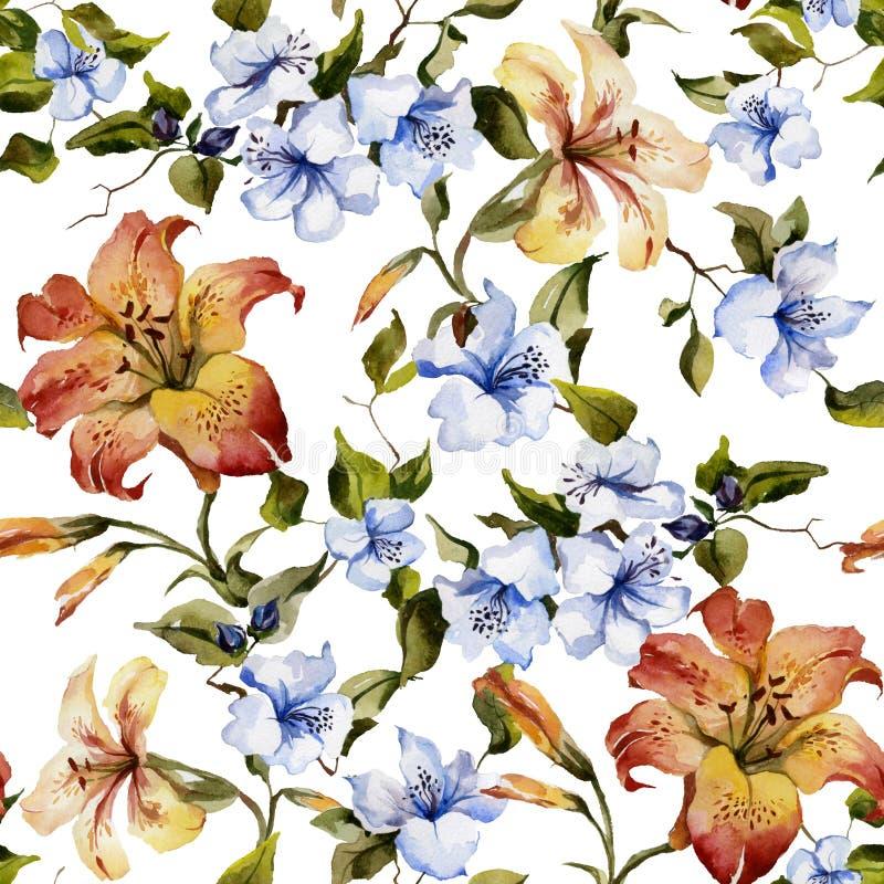 Beaux lis tigrés et petites fleurs bleues sur des brindilles sur le fond blanc Configuration florale sans joint Peinture d'aquare illustration stock
