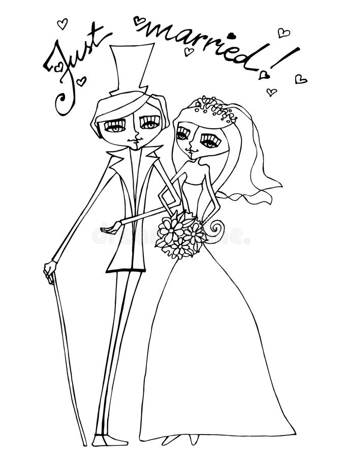 Beaux mariée et marié illustrés illustration stock