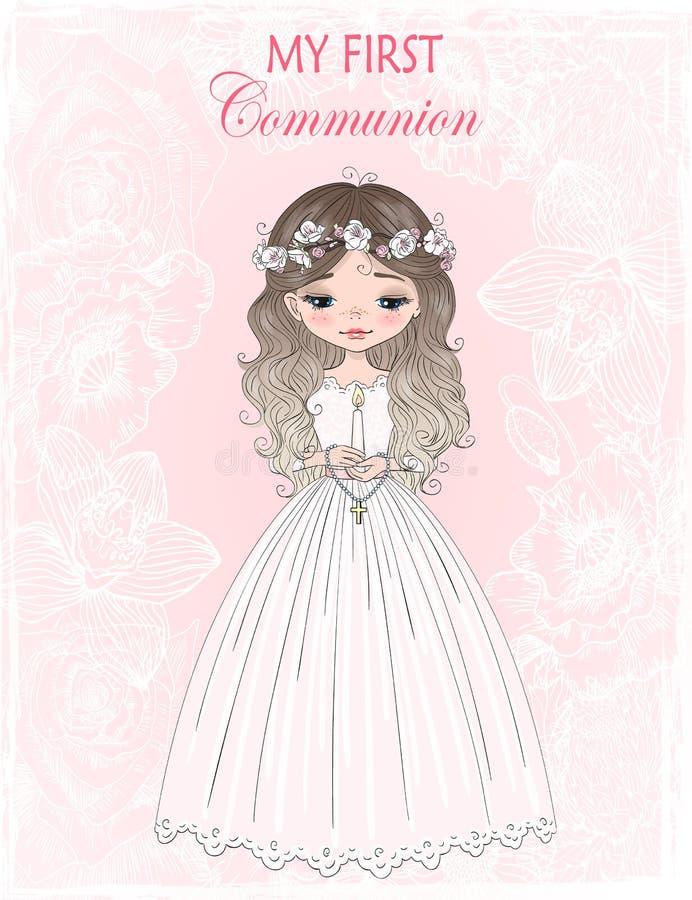 Beaux, mignons tirés par la main, peu la première fille de communion avec la robe de communion et fleur tressent Illustration de  illustration libre de droits