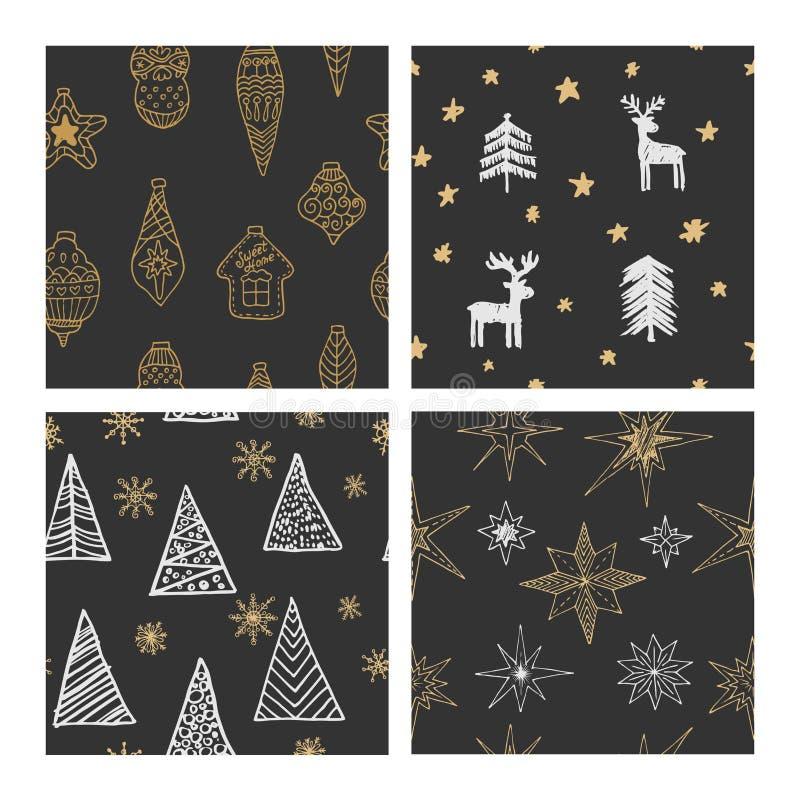 Beaux modèles sans couture de Noël et d'hiver, dessinés à la main Beaucoup d'éléments et de modèles de fête illustration de vecteur