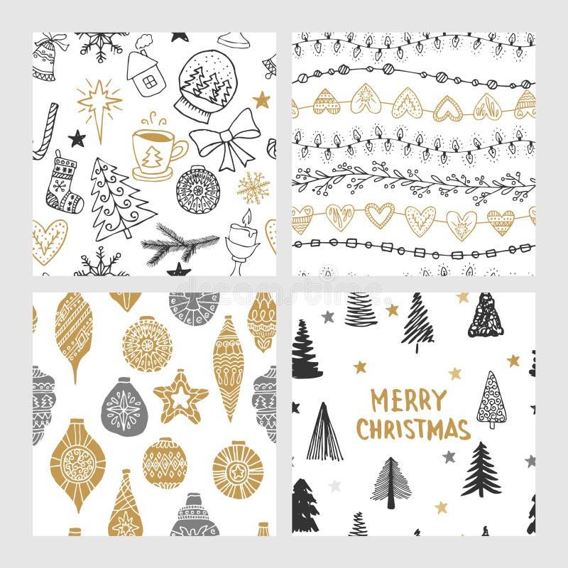 Beaux modèles sans couture de Noël et d'hiver, dessinés à la main Beaucoup d'éléments et de modèles de fête illustration stock