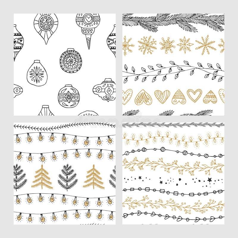 Beaux modèles sans couture de Noël et d'hiver, dessinés à la main Beaucoup d'éléments et de modèles de fête illustration libre de droits