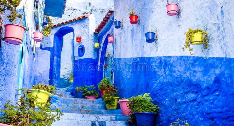 Beaux murs bleus avec les portes lumineuses et pots de fleur color?s sur les murs un jour ensoleill?, ville la M?dina de Chefchao photos stock