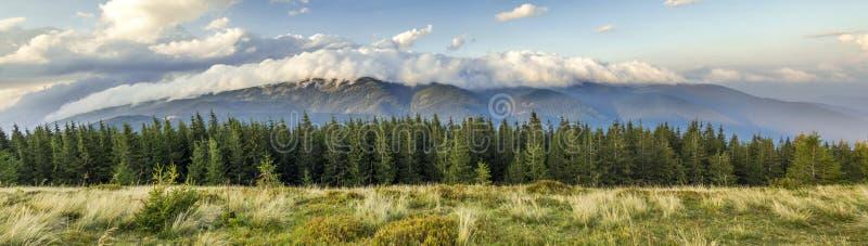 Beaux nuages blancs dramatiques au-dessus des montagnes Forest Hills dedans image stock