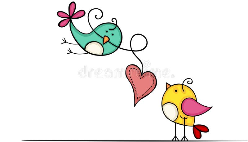 Beaux oiseaux avec le coeur illustration stock