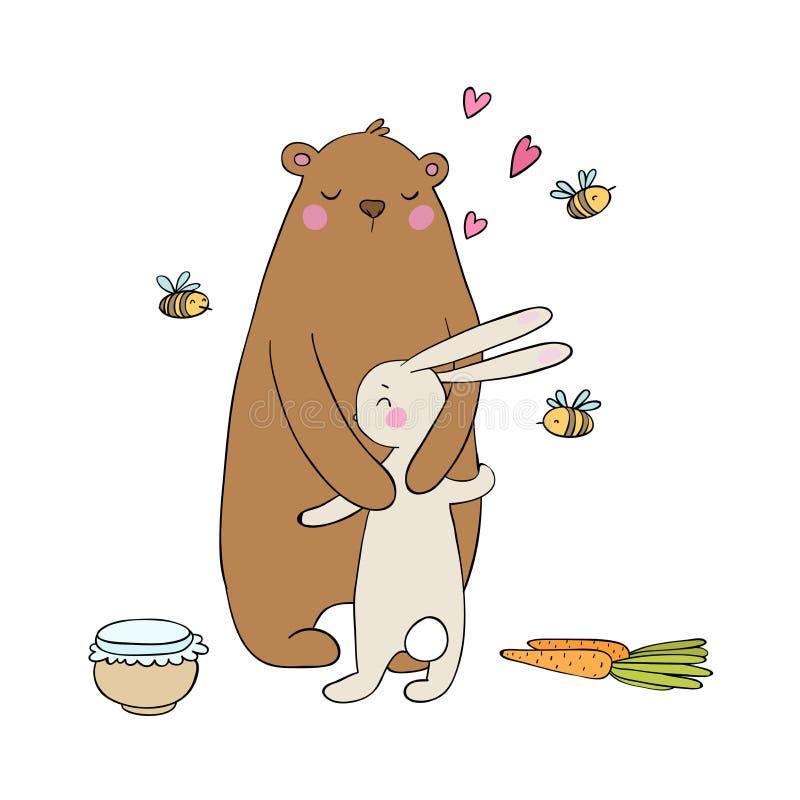 Beaux ours et lièvres de bande dessinée Un pot de miel, de carottes et d'abeilles Animaux heureux objets sur le fond blanc illustration de vecteur