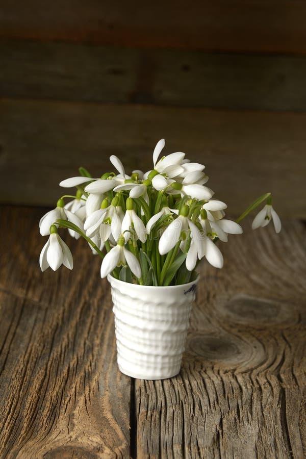 Beaux perce-neige dans le vase sur la table en bois photo stock