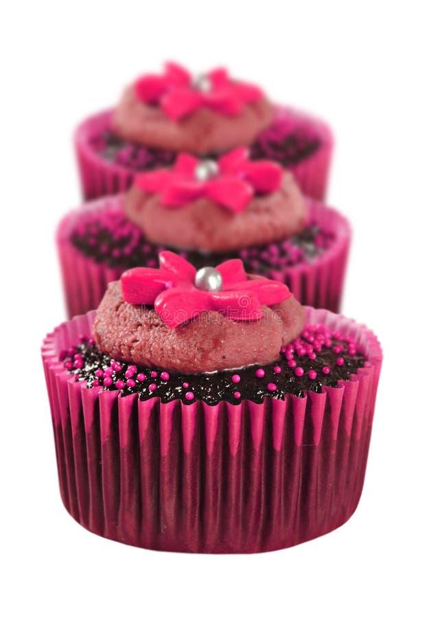 Beaux petits gâteaux de chocolat décorés dans le rose image libre de droits