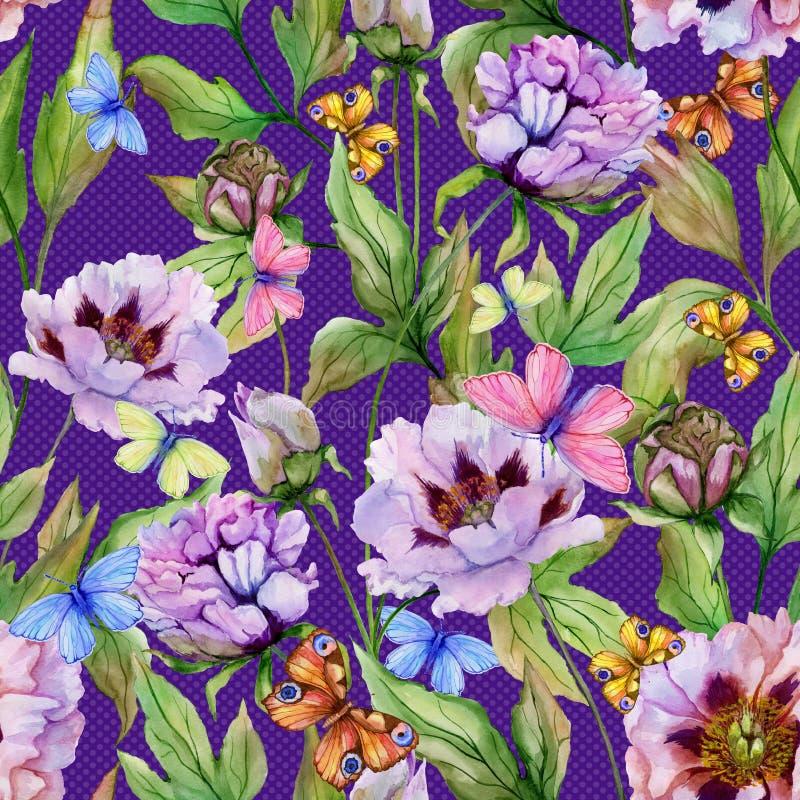 Beaux pivoine et papillons chinois sur le fond lumineux de point de polka Configuration florale sans joint Peinture d'aquarelle illustration libre de droits