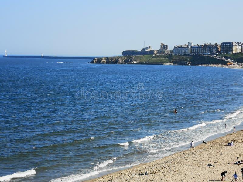 Beaux plages et longsands de Tynemouth de littoral image libre de droits