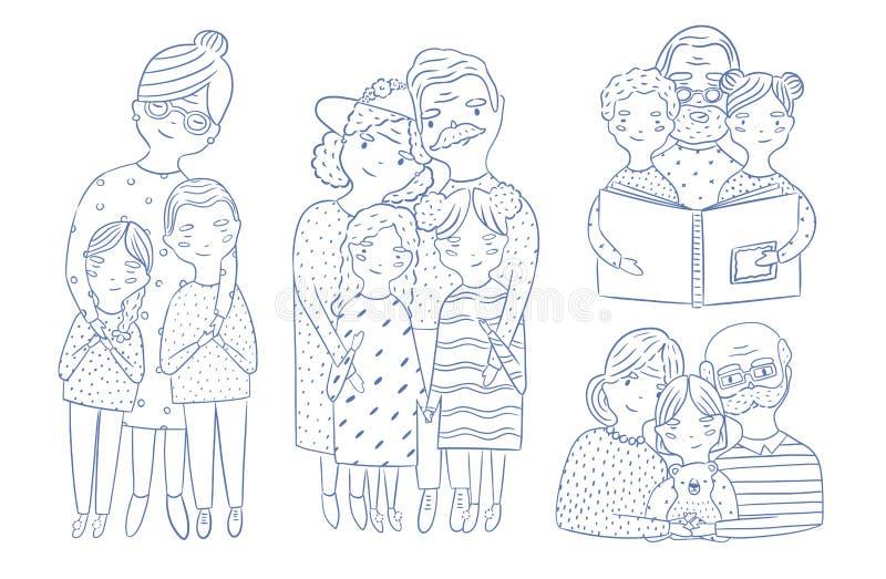 Beaux pleins portraits de corps et de taille- des grands-parents avec la petite-fille et le petit-fils tirés par la main avec des illustration stock