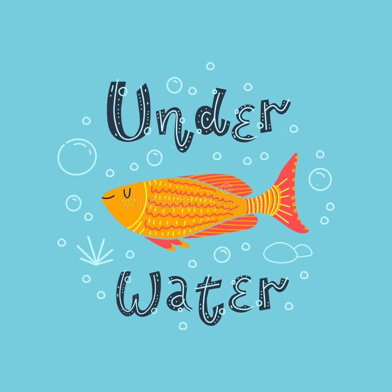 Beaux poissons d'or Lettrage - sous l'eau Illustration de vecteur illustration libre de droits