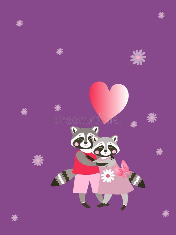 Beaux ratons laveurs, marguerites et coeur d'embrassement Animaux mignons de dessin animé illustration libre de droits